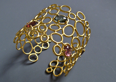 Line V cuff, multi colored tourmalines, 18K gold vermeil