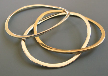 Bangles, 14k or 18k white and yellow gold