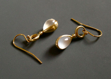 Moonstone tear drops, <br>14k or 18k gold