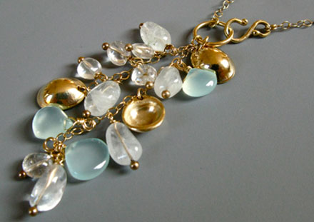 Cascade with chalcedony and moonstone beads, 14k gold
