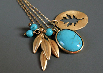 Leaf charms with turquoises, 14k or 18k gold