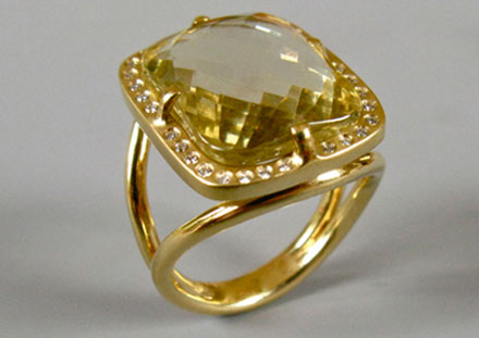 Citrine champagne, diamants, or 18ct